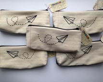 Wholesale - 5 Zipper Pouch Pencil Cases - Paper Airplane - Notebook Paper Fabric - Great for Resale - Hand Embroidered