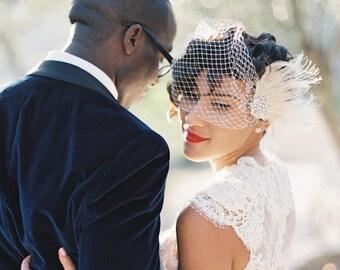 Wedding Hair Clip, Bridal Fascinator,French Net Bridal Veil,Wedding Fascinator, Feather Hair Clip, Ivory Wedding Fascinator, Bridal Veil