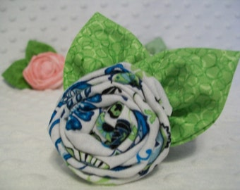 Blue and White Rolled Rose Hair Clip