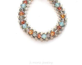 glacier national park . swarovski crystal bracelet .gift idea . turquoise . orange . red . bronze . gold . tangerine . glacier gray