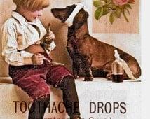 Boy and Dog Dental Collage, Digital Art Image Vintage Reproduction Downloadable, Printable, Supplies, instant Download