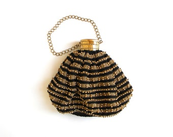 60s Gold Beaded Accordion Bag | Pouch Purse | Evening Bag