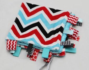 Baby Ribbon Tag Blanket - Minky Binky Blankie - Red, Black, Aqua Chevron