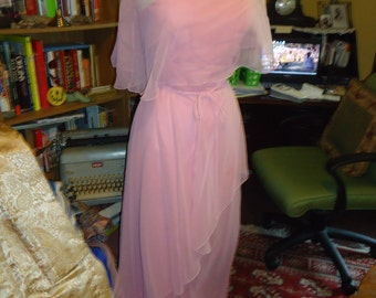 Vintage Pink Evening Gown w/ Sheer Capelet