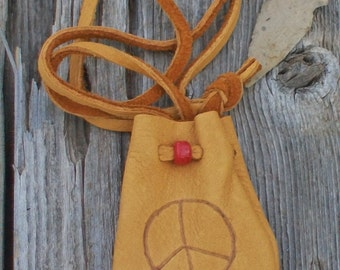 Leather neck pouch with peace symbol , Buckskin medicine bag