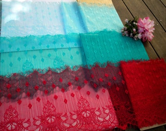 "1, 3 or 5 Yds of 9"" Wide Aqua Turquoise Red Stretch Nylon Lingerie Lace Trim Bridal Wedding Eyelash Victorian Style Leaver Scalloped FJT2"