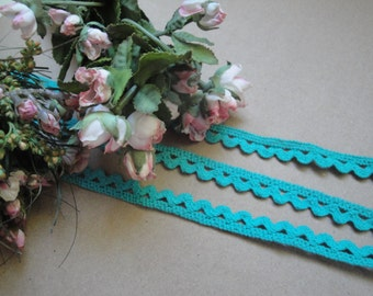 "2.5 Yards of 3/8"" Wide Hand Dyed Turquoise Cotton Rick Rack Picot Edging Crochet Lace Trim S121"