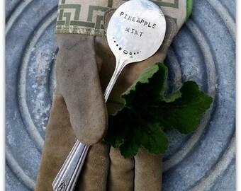 Pineapple Mint, Garden Marker, Vintage Spoon, Spoon Marker, Herb Garden, Upcylced Silverware, Hand Stamped, Gardener Gift, Silverware Marker