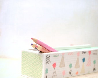 Party Hat Pencil case, Pencil Box, Supply Box, Birthday Craft supply Box, Pencil Carrier, Art Supply Box, Pom pom Hat, Party Time Hats