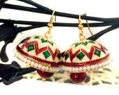 Meenakari Jhumka Earrings Red green Pearls,Ethnic Jewelry,Indian Gold Jhumki,Rajasthani Jhumka by TANEESI
