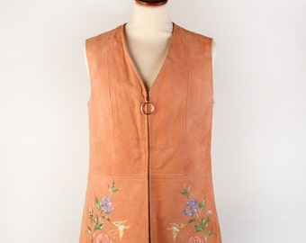 Vintage Leather and Wool Vest with Embroidery