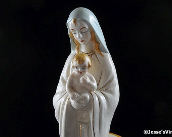 Vintage Art Deco Mother Mary & Child Planter Catholic Made In Japan 40s