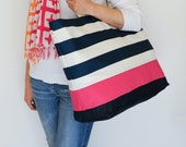 EXTRA Large Beach Bag // Tote in Navy Horizontal Stripes with Hot Pink Stripe, Monogram Available