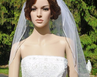 Single Tier Satin Ribbon Edge Bridal Wedding Veil White or Diamond