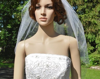 Single Tier Veil Rhinestone Finished Pencil Edge Bridal Wedding White Diamond Ivory