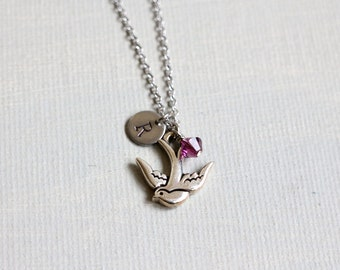Silver Sparrow Necklace. personalized initial birthstones sparrow necklace. birthsone jewelry. monogram necklace