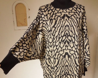 LAST CHANCE SALE...Vintage 80's Sweater, Tunic Turtleneck, Dolman Batwing Sleeves, Black and Gold Metallic Lurex, Size Medium to Large