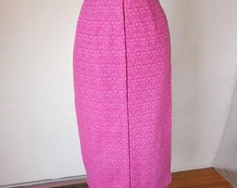 Vintage 50's Pencil Skirt, Hot Pink Skirt, Women's Small, 26 Waist, Wool Skirt, Pink Wiggle Skirt, SALE