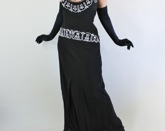 90s does 30s Art Deco Black White Formal Party Dress, Floral Beaded Silk Chiffon Bias Glam Gown, Torch Singer, Medium. FREE SHIPPING