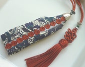 Moroccan decorative tassel key ring, burnt orange art silk, wristlet with Moroccan embroidery