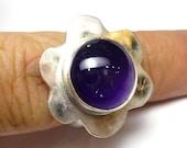 Amethyst Ring Flower Sterling Silver One of A Kind handmade Lisajoy Sachs Design size 7.5 Statement Birthday Purple February Birthstone
