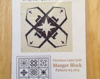 Christmas Light Quilt by Cross Walk Creations - Pattern #5 of 9 - Manger Block