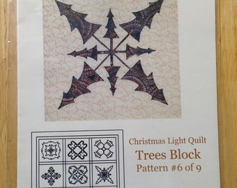 Christmas Light Quilt by Cross Walk Creations - Pattern #6 of 9 - Trees Block
