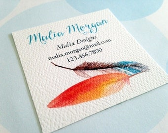 Feather Business Cards, Custom Business Cards - Set of 48
