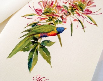 Personalized Stationery, Note Cards, Bird Card, Set of 6