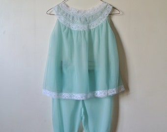 Vintage Mint Green Pajama Set - Tank and Shorts Minty Blue - Size Small