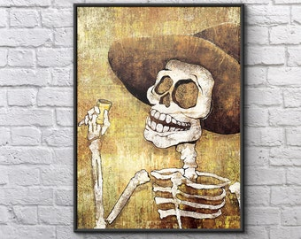 Dia de los Muertos Calavera Cheers - 18x24 art poster print