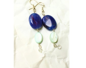 Long Navy Blue Beaded Dangle Statement Earrings, Falling Sky