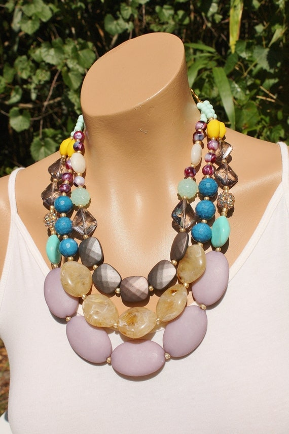 Huge Chunky Colorful Multistrand Statement Necklace, Gray, Beige, Neutral, Multicolor, Anthropologie Necklace, Stone Skipper