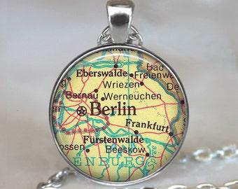 Berlin map necklace, Berlin map pendant, Berlin necklace, Berlin pendant, Berlin, Germany, Frankfurt Germany map keychain key fob