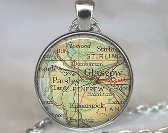 Glasgow map pendant, Glasgow map necklace, Glasgow pendant, Glasgow necklace, Glasgow keychain, map jewelry, map jewellery