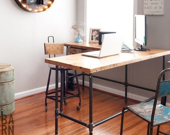 Reclaimed Wood Desk in L shape with Iron pipe legs in choice of size, height and finish