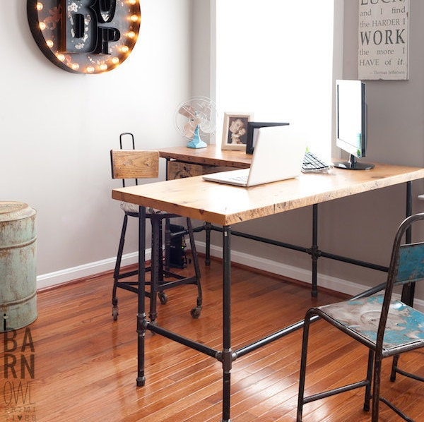 Reclaimed Wood Desk in L shape with Iron pipe legs in choice of size, height - L Shaped Desk Etsy