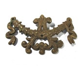 Ornamental Brass Hardware Furniture VINTAGE Floral Back Plate One (1) Ornate Hardware Assemblage Supplies Furniture Restoration (L8)