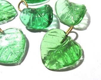 Green Glass Leaf Drops Charms Dangles GREEN Glass Leaves Six (6) Large Glass Molded Leaf Charms Drops Jewelry Supplies Glass Leaves (D123)