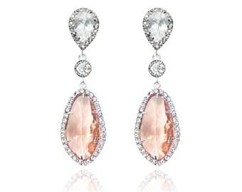 Champagne Bridal Earrings Cubic Zirconia Teardrop Wedding Earrings Silver Peach Earrings Bridesmaid Gift Wedding Jewellery Sterling Silver