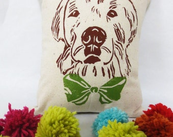 Golden Retriever Face Block Printed Pillow - Your Choice of Bow Tie Color - Includes Pillow Insert