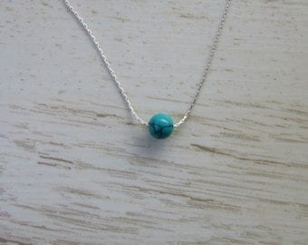 Turquoise Bead Necklace, Tiny Minimalist Necklace, Green Turquoise with Sterling Silver Necklace, Everyday Jewelry, Simple Charm Necklace