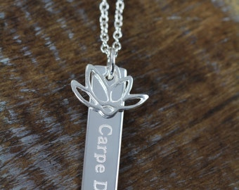 Carpe Diem Pendant Necklace with Lotus, Spiritual Inspirational Word Art Jewelry, 925 Sterling Silver