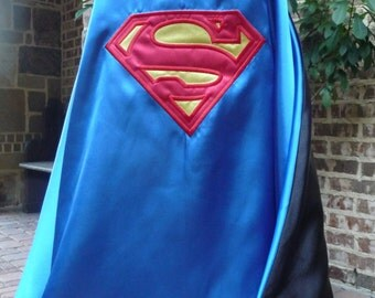 Reversible Superhero Cape- Batman and Superman Combo - Traditional Colors