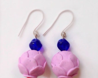 SALE Pastel Pink 'CHOUX' Polymer Clay & Silver Earrings