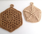 Vintage Pair Crochet Pot Holders, Large & Small Handmade Hexagon Brown and Tan Crocheted Trivets, Double Panel