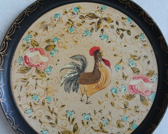 Vintage Handpainted Farmhouse Rooster Serving Tray
