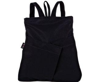 Black vegan Backpack, Medium size bag, Everyday Backpack, comfortable stylish purse - Origami inspired