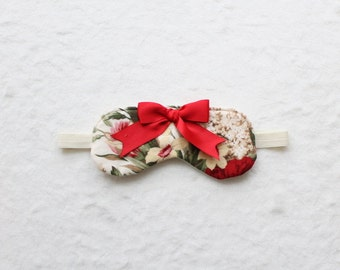 Sample SALE Red and White Floral Flannel Sleep Mask Eye Mask