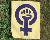 Feminism Patch - Purple on Yellow Print - Large Bag or Back Patch - feminist patches woman power assorted punk fist movement people